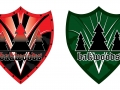 Bakwoods vector shields using text and trees logo. Colored red, black, white and green.