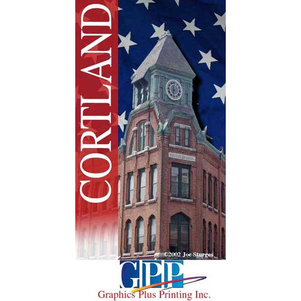 Cortland Clock Tower Photograph and vertical Banner Design