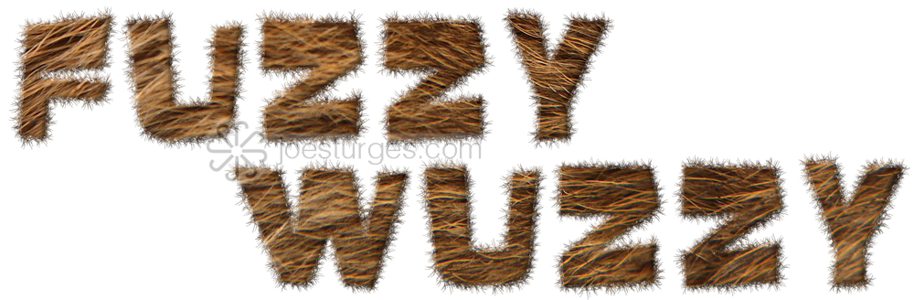 Furry text effect created with brushes and manipulated text.