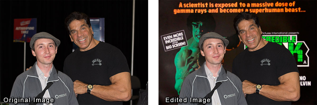 Photoshop image touch up of Lou Ferrigno and I  using layers, healing brush, blur and other tools.