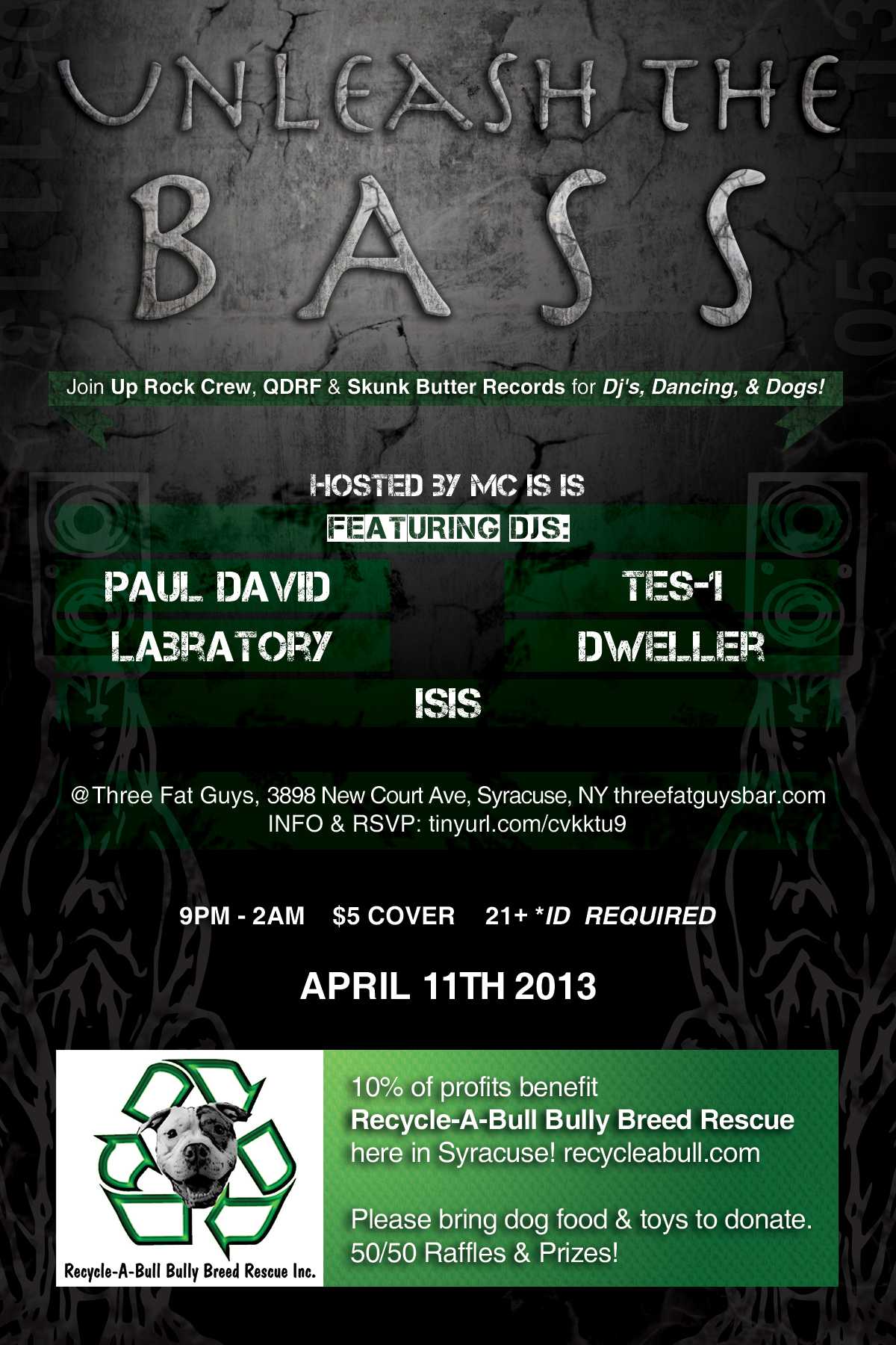 Unleash the Bass flyer design for a charity benefit event. - Front