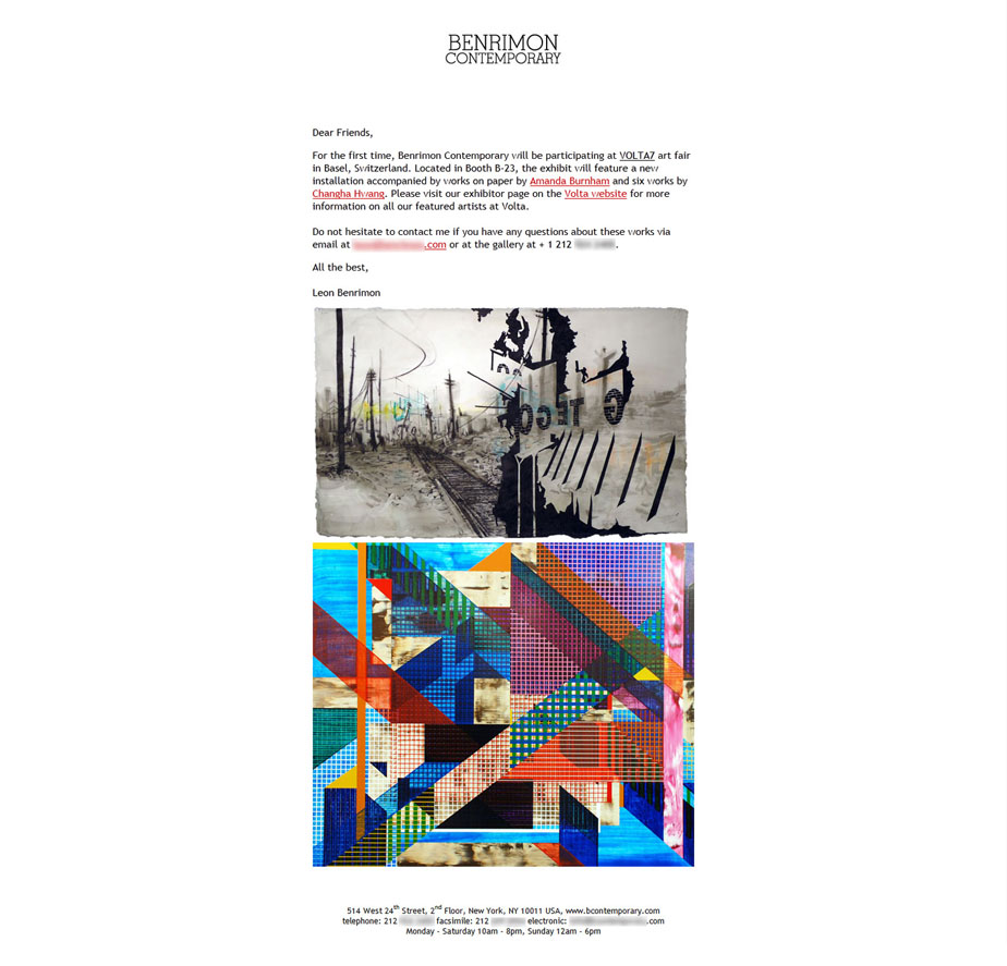 Constant Contact HTML Email - Contemporary Art Gallery newsletter for Volta art fair.