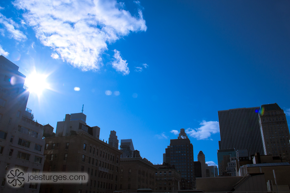 Upper east side blue skyline of Manhattan, New York.