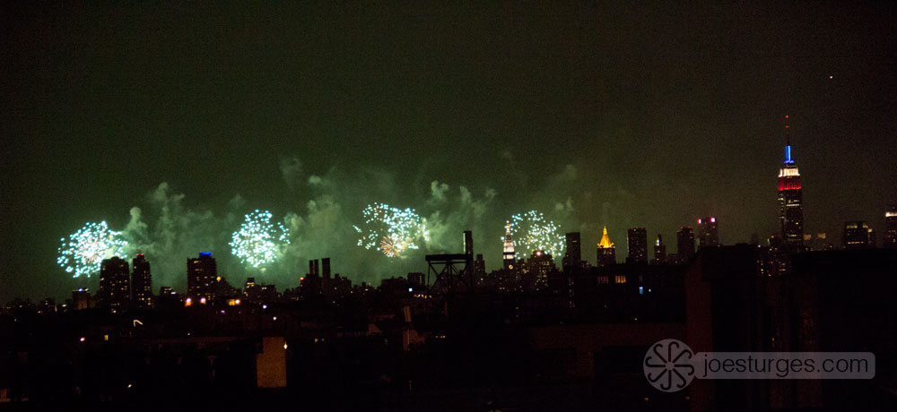 4th of July, view of Manhattan fireworks from Brooklyn, New York.