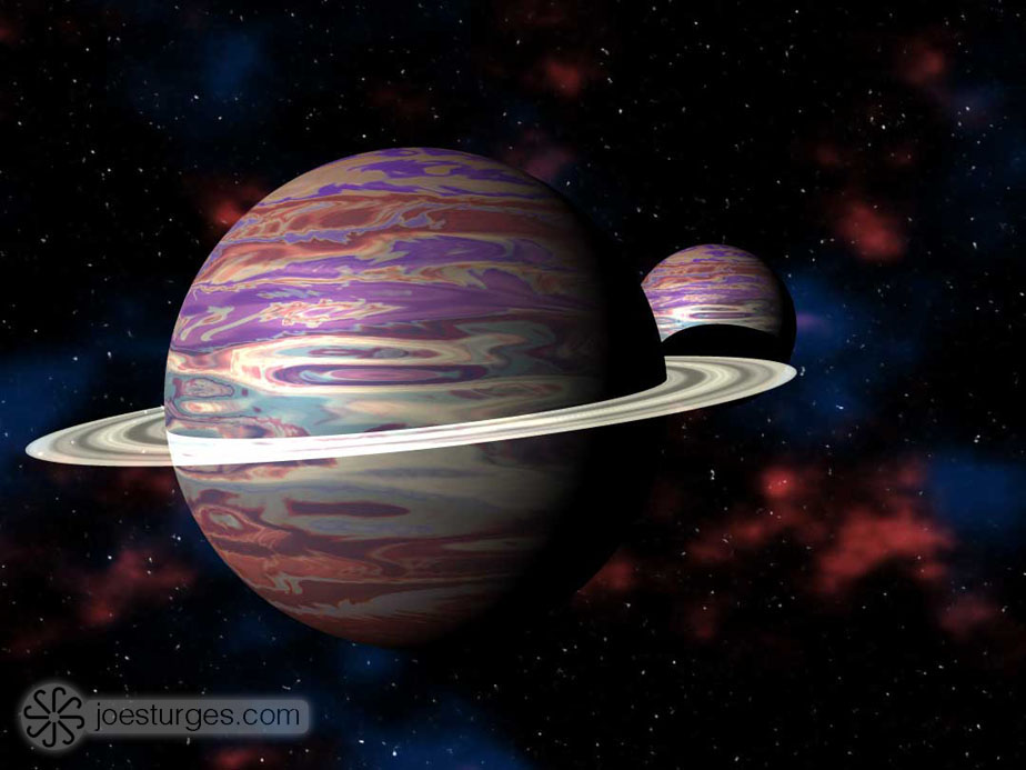 Planets and space created using Bryce 3D