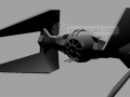 Tie Fighter created using polygons in Maya
