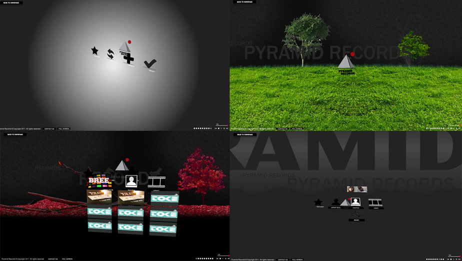 Pyramid Records, Flash Website for a record label company.