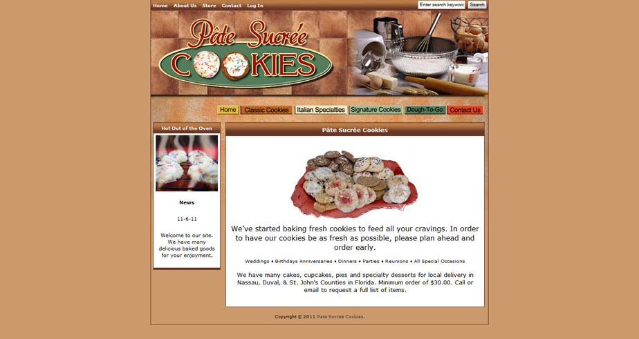 Online shopping cart for cookie website.