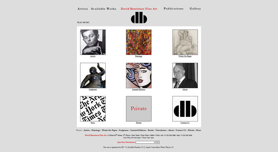 Gallery Website Home Page