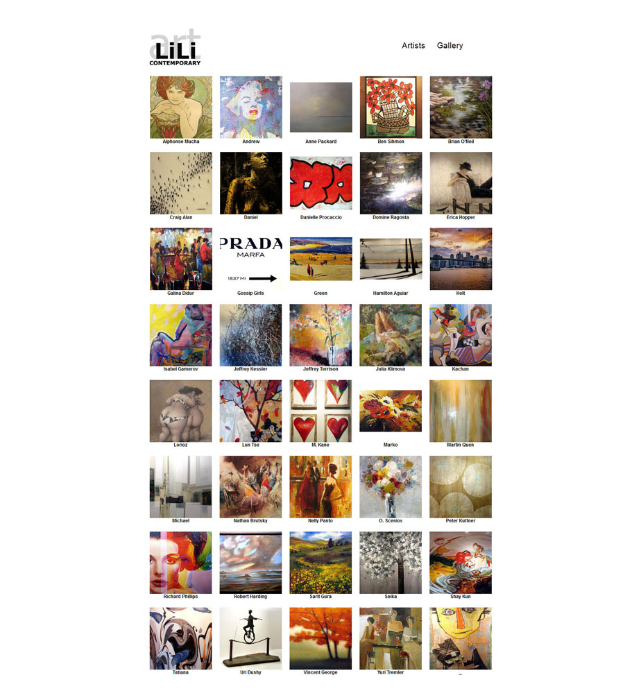 Contemporary Gallery Website Artists Page