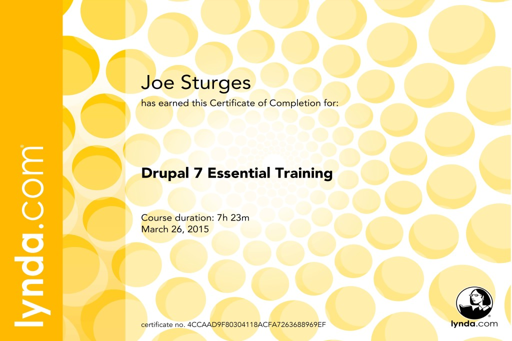 Drupal 7 Essential Training Certificate